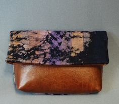 Batik Tribal and Leather Clutch by EugeniaWoods