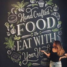 Beautiful lettering and artwork! A gorgeous piece. Lauren Hom at it again Chalkboard Typography, Blackboard Art, Chalk Lettering, Chalkboard Designs, Typography Letters, Brush Lettering, Lettering Design, Branding Design, Lauren Hom