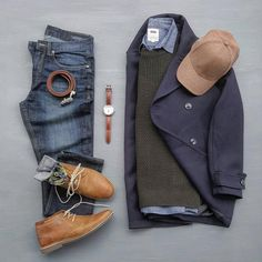 Outfit grid - Pea coat style