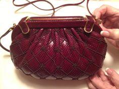 Vintage Judith Leiber Burgundy Snake Skin by TheChicVintageCloset