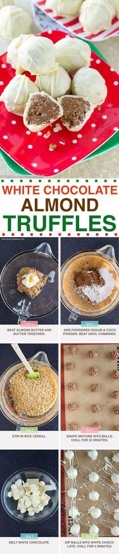 No-Bake White Chocolate Almond Truffles Candy Recipes, Sweet Recipes, Holiday Recipes, Baking Recipes, Dessert Recipes, Cake Pops, Chocolates, Christmas Truffles, White Chocolate Truffles