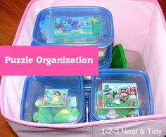 How awesome is this?  Keep puzzles organized in easy to open storage containers!  Perfect for the little one's hands and easy clean up!