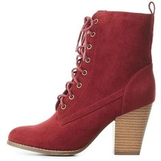 Charlotte Russe Faux Suede Lace-Up Ankle Booties ($39) ❤ liked on Polyvore featuring shoes, boots, ankle booties, wine, chunky lace up booties, chunky lace up boots, lace up boots, boho boots and laced up boots