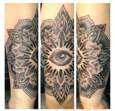 Mandala third eye tattoo. Occult.