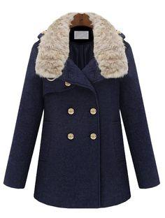 Abrigo+solapa+pelo+botonadura+bolsillos+mangas+largas-Marino+EUR€47.15