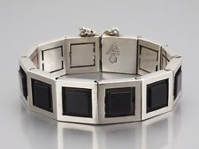 Modernist Antonio Pineda Design Silver Onyx Bracelet 970, eagle 121