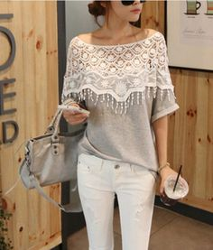 Lace Cutout Handmade Crochet Cape Collar Batwing Sleeve T-shirt