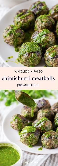 These chimichurri Whole30 meatballs are packed full of flavor and come together easily with the help of a food processor. Ideal for those on a spring or summer Whole30, they're garlicky and tender, thanks to the Swiss chard. A great Whole30 dinner and Whole30 meatballs recipe