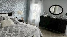 Juliana from @decor_musing must rest easily in this beautiful stenciled bedroom.  Gray accent wall stenciled with the Tea House Trellis Allover, a modern geometric wall pattern.    Tea House Trellis Stencil: http://www.cuttingedgestencils.com/tea-house-trellis-allover-stencil-pattern.html