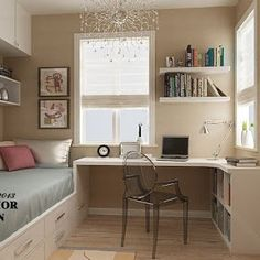Fantastic Pictures Bedroom Office Tips Got kids ? Then you understand that their stuff winds up practically throughout the house! Study Room Decor, Room Ideas Bedroom, Small Room Bedroom, Home Bedroom, Bedroom Decor, Desk In Bedroom, Small Room Desk, Small Girls Bedrooms, Small Bedroom Storage