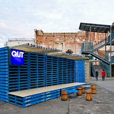 Shipping pallets and containers. An outdoors art space temporarily created for the 2012 Brisbane Festival.