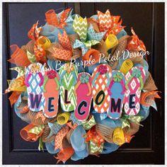 Spring Wreath, Summer Wreath, Burlap Mesh Wreath, Flip Flop Wreath, Welcome Sign Wreath, Beach Wreath, Burlap Welcome Wreath