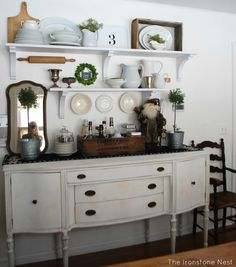 i've been looking for a hutch to put on my buffet, but i think i will try the shelving. might even paint buffet.i've been looking for a hutch to put on my buffet, but i think i will try the shelving. might even paint buffet Dining Room Shelves, Dining Room Hutch, Dining Room Walls, Dining Room Furniture, Antique Furniture, Furniture Nyc, Cheap Furniture, Dining Room Buffet, Kitchen Dining