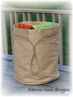 Burlap Basket// figure out how to make; great for gardening basket