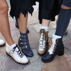To produce a look that never goes out of trend, mid calf shoes for women. Winter Boots Outfits, Winter Snow Boots, Marc Fisher Boots, Shearling Boots, Fall Shoes, Mid Calf Boots, Black Boots, Combat Boots, Autumn Fashion
