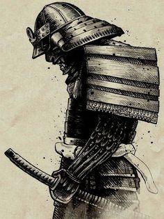 japanische krieger, schwarz weiße zeichnung, tattoo vorlage, katana, helm, ausrüstung