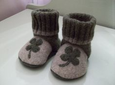 Recycled Wool Sweater Baby Boot Slipper Shoes----dying of cuteness!