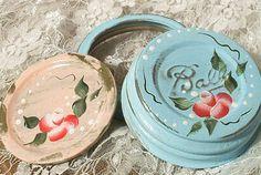 2 destash lids, i broke in new brushes, shabby painted roses on old lids for your mason fruit jars    regular mouth, both vintage    ball zinc cap