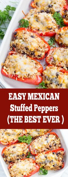 Mexican Stuffed Bell Peppers Recipe - Momsdish - The Best For Dinner Healthy Recipes Yummy Recipes, Beef Recipes, Cooking Recipes, Healthy Recipes, Healthy Mexican Food, Casseroles Healthy, Mexican Cooking, Recipies, Mexican Dinner Recipes