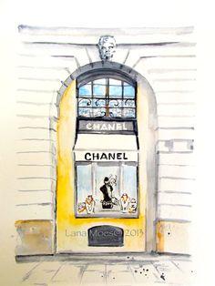 Aquarelle de Chanel - Print Paris Illustration - Cityscape - mode aquarelle - magasin Chanel à Paris