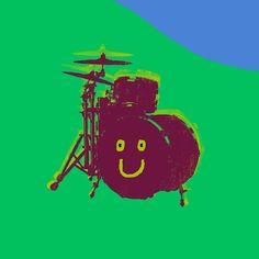 Let's begin with the drum set. Drums Art, Drum Kits, Let It Be, Illustration, Happy, Movie Posters, Instagram, Film Poster, Ser Feliz