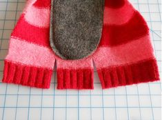 So I decided to commemorate the LONGEST winter I can remember by making myself some striped slippers from an old, holey sweater. Pullover Upcycling, Striped Slippers, Sweater Boots, Craft Organization, Diy Clothing, Fabric Scraps, Knitted Hats, Sewing Projects, Sewing Patterns