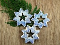 DIY Snowflake Ornaments - See how to make these salt dough snowflake ornaments for your Christmas tree. (How To Make Dough Ornaments) Salt Dough Christmas Ornaments, Snowflake Ornaments, Christmas Snowflakes, Diy Ornaments, Diy Snowflakes, Homemade Ornaments, Star Ornament, Holiday Ornaments, Glass Ornaments