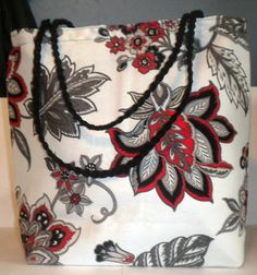 White Red Flower tote bag fabric tote bag white by LaurieEmporium