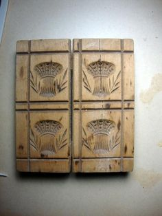5in x 6in. Early Vintage Butter Mold. Love all the carved shafts of wheat!!!!!!!