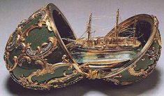 """(1) FABERGE Egg No...__ 1891 - """"MEMORY  of ASOV"""" This egg is held in Moscow. It hold a small boat that is a perfect imitation of the cruiser that Tsarevich Nicholas and Duke George took.Their journey ended due to tuberculosis and assassination."""