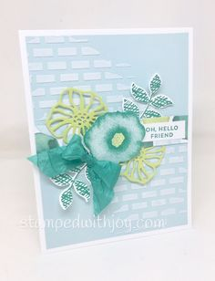 Happy Monday! I have an upcoming class featuring the new Embossing Paste, so I've been busy playing with it and I AM IN LOVE! It's so fun and easy to use! Here is one of my favorite cards that I've cr