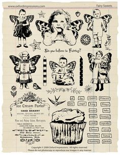 Fairy Sweets Rubber Stamp Collection par oxfordimpressions sur Etsy, $24.00