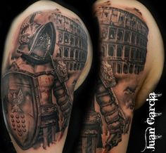 Artist Juan Garcia @ Art of War Tattoo Parlor in Moreno Valley Ca Gladiator, Black and grey, colosseum, shield amazing artwork