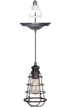 replace can/recessed lights with pendants  LOVE LOVE LOVE Cage Pendant - Conversion Kits - Ceiling Fixtures - Lighting | HomeDecorators.com