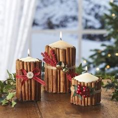 White, cream, gold, silver, green candles...wrap with cinnamon sticks, tie with ribbons, cranberries and bells. Great for tables