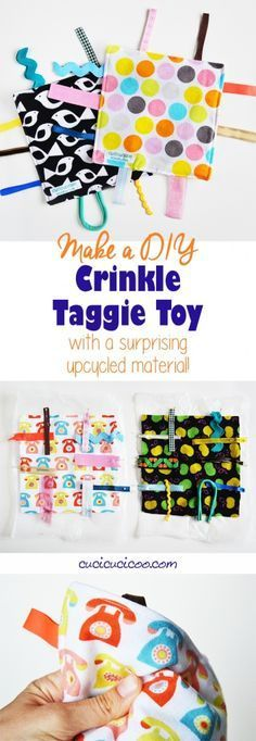 baby diy Need a quick DIY gift for a sweet newborn Learn how to make a crinkle taggie baby toy with this easy tutorial. You wont believe the upcycled material that makes that perfect crinkly sound babies love! Diy Baby Gifts, Baby Crafts, Diy Gifts For Babies, Easy Baby Gifts To Make, Baby Sewing Projects, Sewing Projects For Beginners, Sewing Hacks, Sewing Ideas, Baby Sewing Tutorials