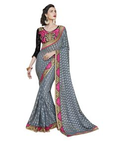 Buy Now Grey Fancy Embroidery Brasso Party Wear Saree With Dhupian Blouse only at Lalgulal.com. Price :- 2,712/- inr. To Order :- http://goo.gl/7D76AB. COD & Free Shipping Available only in India