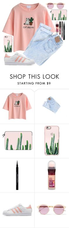 """""""🐱cat and me🌵"""" by heyitsfashixn ❤ liked on Polyvore featuring WithChic, Casetify, Givenchy, Maybelline, adidas Originals and Sheriff&Cherry"""
