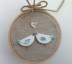 Love birds hoop art  Clay birds on linen Bird by BoxRoomBazaar