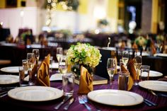 Purple and Green Wedding Reception
