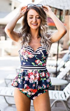 Floral + Stripes = Dream Team! This peplum style tankini is sure to be your new favorite swimsuit. It's flattering, comfortable, high-quality, and even cuter in person :). Here are some of our favorit