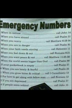 Emergency numbers  good stuff!