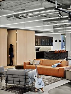 View full picture gallery of Fender HQ Workspace Design, Office Workspace, Hotel Interiors, Office Interiors, Office Lounge, Luxury Office, Cool Office, Office Ideas, Contemporary Office
