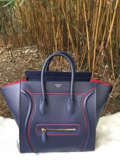 S/S 2016 Celine Collection Outlet-Celine Micro Luggage Handbag in Midnight Blue Calfskin With Red Lining