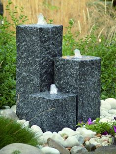 Three solid granite columns waiting to be filled with water and enjoyed. The included LED lights make this feature a for your garden whether during the night or day. Some of the best value solid granite craftsmanship in the UK.