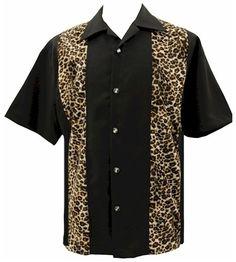 Mens Black Leopard Print Dice Buttons SS Rockabilly Shirt