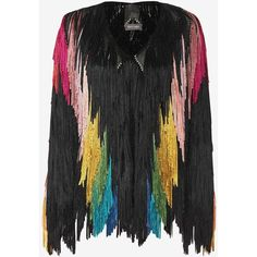 Tim Ryan Rainbow Fringe Jacket (€2.305) ❤ liked on Polyvore featuring outerwear, jackets, multi, collarless jacket, open front jacket, tim ryan, fringe jacket and long sleeve jacket