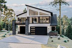 tree, house, sky and outdoorYou can find House plans and more on our website.tree, house, sky and outdoor Small Modern Home, Small Modern House Exterior, Big Modern Houses, Modern Family House, Beautiful Modern Homes, Modern Garage, Japan Modern House, Modern Glass House, Carriage House Plans