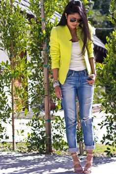 I have the perfect jeans to wear with an outfit like this. I would do a blazer that complements my skin tone better. This yellow is great for spring/summer, though, if you can pull it off!! Love the heels with ripped denim. Very cute!