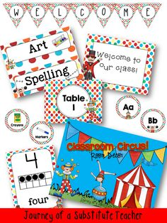 Classroom Door for next year? This site has really cute classroom decorating ideas Circus Classroom Decor Pack first day of school Circus Theme Classroom, Polka Dot Classroom, Teacher Classroom Decorations, Classroom Walls, Classroom Setting, Classroom Setup, Future Classroom, Circus Decorations, Carnival Themes